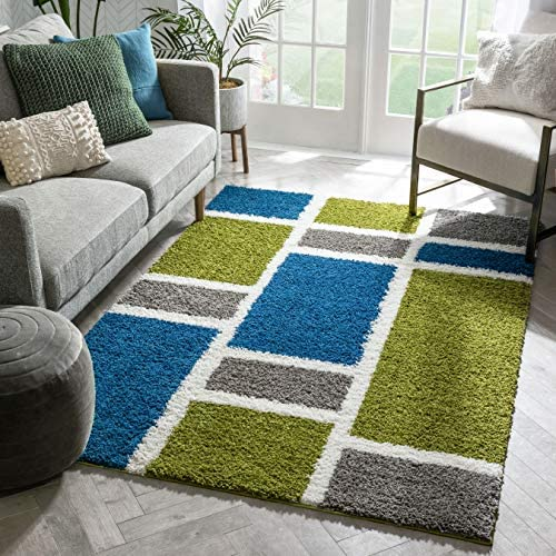 Shaggy Cubes Blue Green Plush Shag Modern Geometric Blocks Squares 5x7 5' x 7'2'' Area Rug Easy Plush Shag Easy Care Thick Soft Plush Living Room