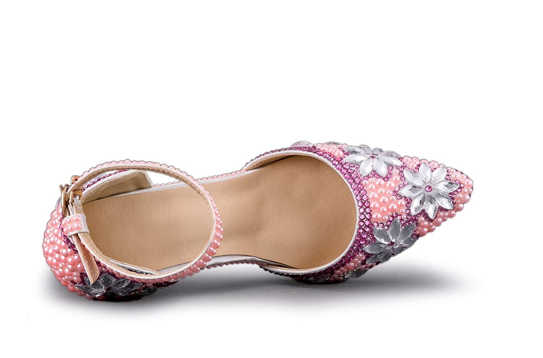 ZHRUI Frauen Blaumen Jem Studded High Heel Knöchelriemen Knöchelriemen Knöchelriemen Hochzeitsschuhe (Farbe   Rosa-9cm Heel, Größe   6 UK) 9a79cd