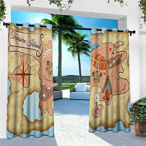 leinuoyi Island Map, Outdoor Curtain of Lights, Ancient Treasure Map of Tropical Beach with Chest Key Mystical World Theme, Set for Patio Waterproof W84 x L96 Inch Cream Pink Blue (Ancient Light Treasures)