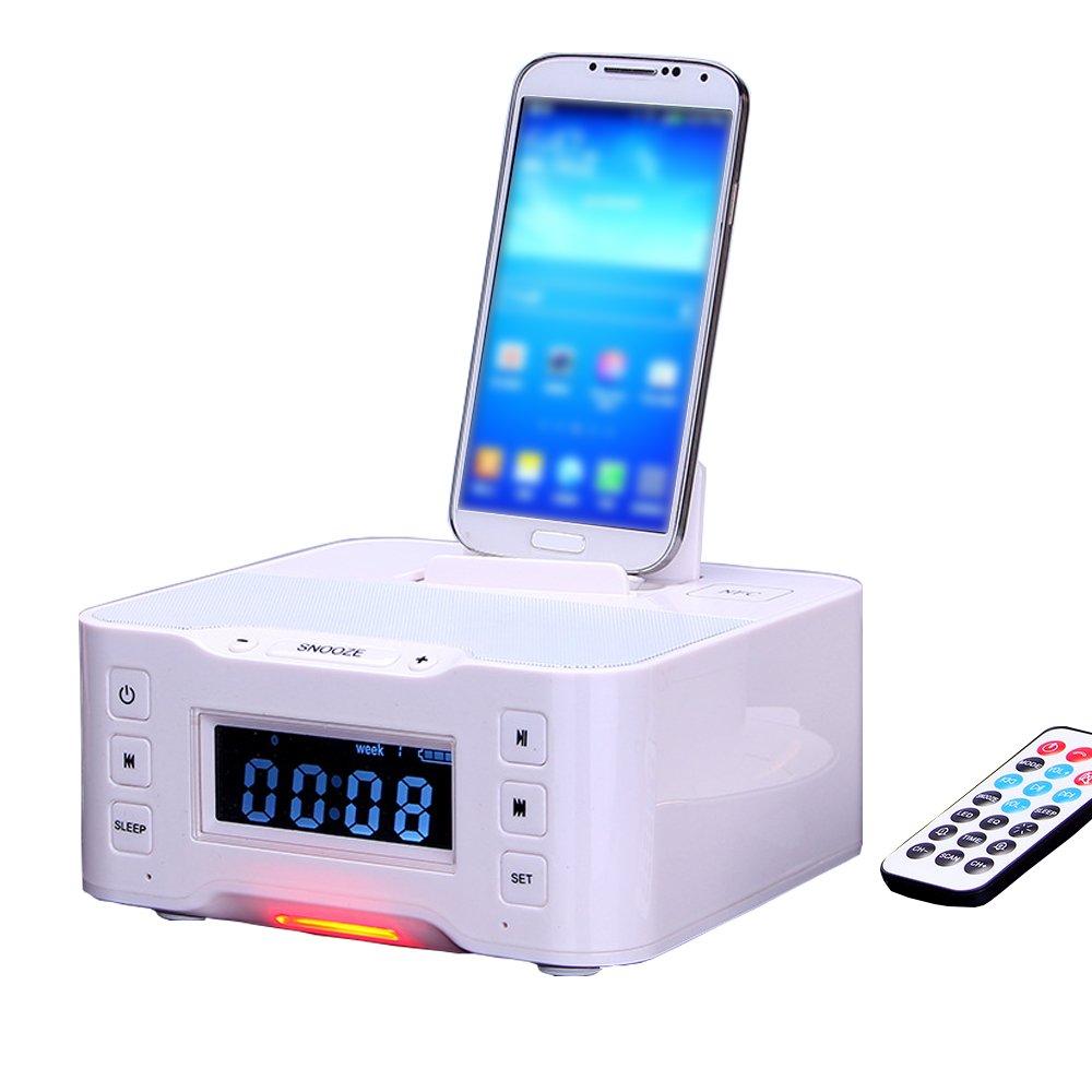 Mettime Clock Radio Dock Speaker Bluetooth Alarm Base de carga FM Radio Dock Cargador y iphone / ipad / mini y telé fonos Android
