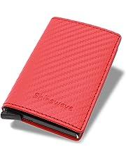 Shinewave RFID Blocking Card Holder/RFID Wallets for Men, Carbon Fiber PU Leather, Magnetic Closure Design, RFID Pop-Up Card Holder