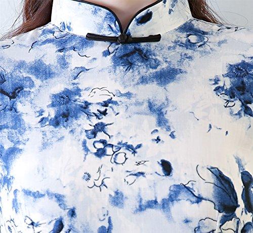 ACVIP Damen Kleine Frische Cheongsam Sommer Midi Schlank Qipao Retro Bankettkleid Blau EU7cE756i0
