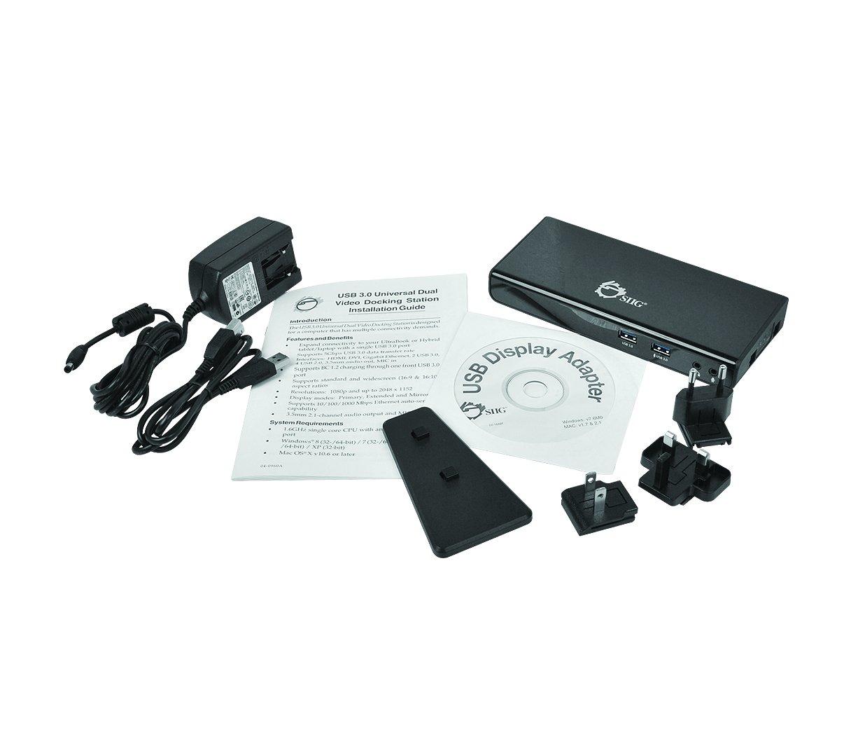SIIG USB 3.0 Dual Video Docking Station -JU-DK0211-S1, For Windows & Mac - HDMI & DVI Dual Video Outputs, Gigabit Ethernet, Audio / Mic, 6 USB Ports, 512MB Built-in Video RAM