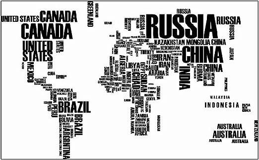 Mapa del Mundo en nombres de países vinilo adhesivo decorativo de pared para decoración de la sala de estar: Amazon.es: Hogar