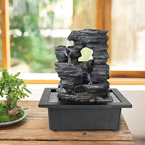 xpiyaer Cascading Tabletop Fountain with LED Lights and Hollow Designation – 10.23 H Tiered Rock Water Fountains Indoor Waterfall Feature for Home and Office Use