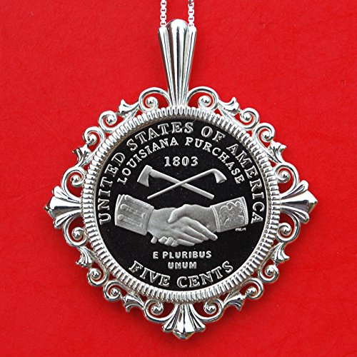 US 2004 Westward Journey Nickel SeriesTM Designs Jefferson Nickel 5 Cent Gem BU Uncirculated Proof Coin 925 Sterling Silver Necklace New - Louisiana Purchase/Peace Medal Handshake