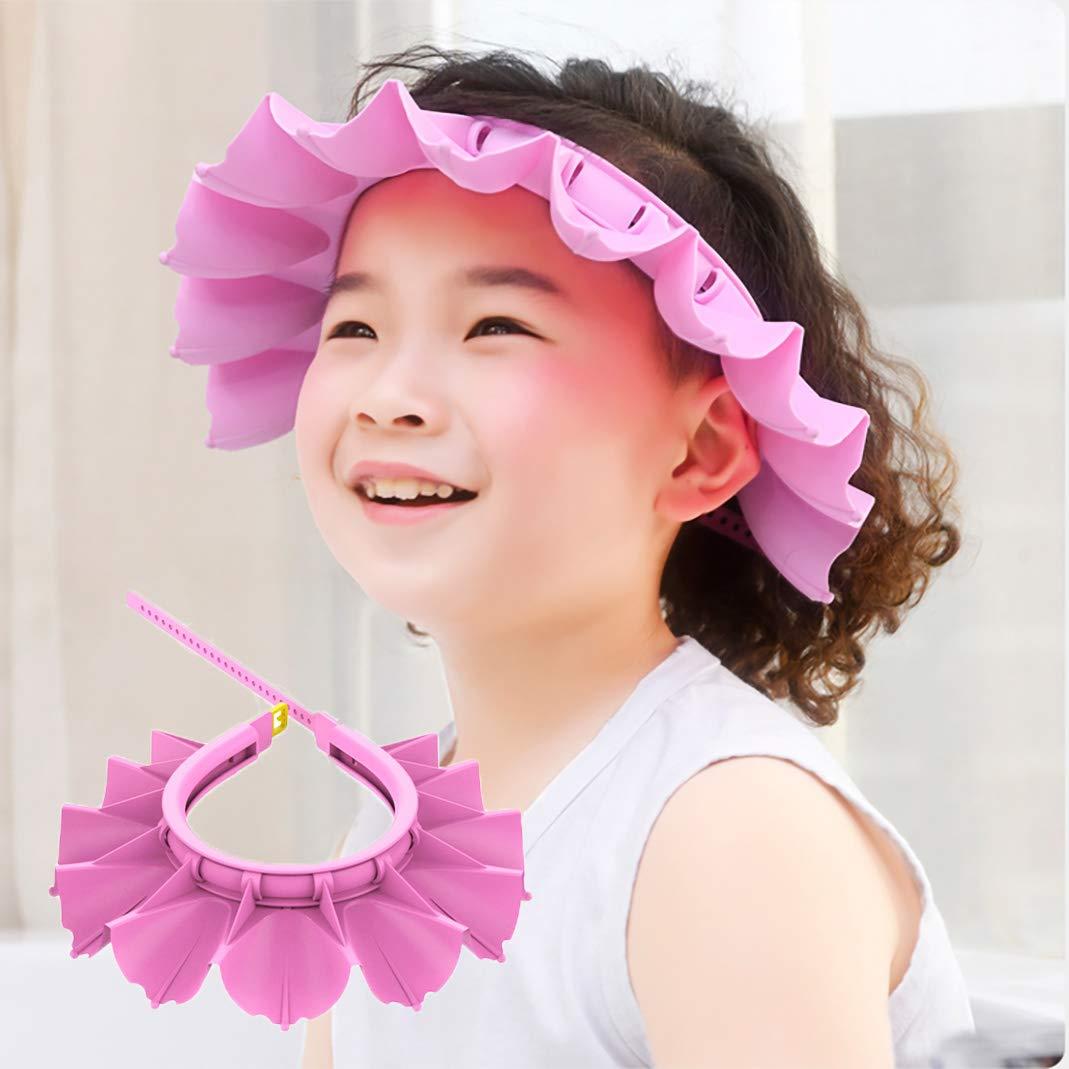 Baby Silicone Shower Cap Bathing Hat, Adjustable Shower Cap Kids, Infants Soft Protection Funny Safety Visor Cap for Toddler Children (Pink)