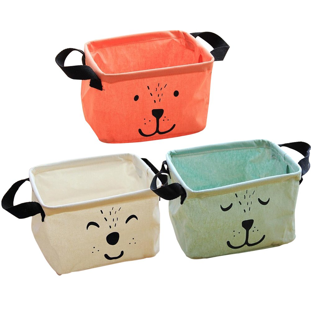Toys A Office Foldable Storage Basket Cotton Linen Storage Bins Cute Organizer with Handle for Bedroom Set of 3 Laundry from Lesirit Closet