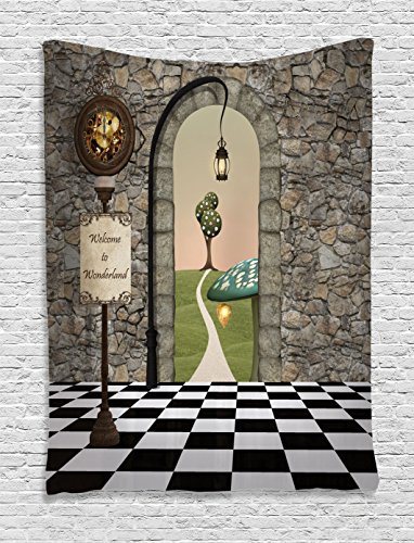 Ambesonne Alice in Wonderland Tapestry, Welcome Wonderland Black and White Floor Landscape Mushroom Lantern, Wall Hanging for Bedroom Living Room Dorm, 60 W X 80 L Inches, Black Green