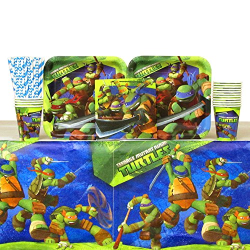 (Cedar Crate Market Teenage Mutant Ninja Turtles Party Pack for 16 Guests: Straws, Plates, Napkins, Cups, and Table Cover (Bundle for 16) )