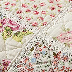 MAXYOYO New!Reversible Princess Pink Floral Print Plaid Cotton Real Patchwork Quilt Set,Teen Girl\'s Coverlet Set,Soft Bedspreads,Beautiful Lightweight Cotton Quilt 3Pcs Full/Queen Size