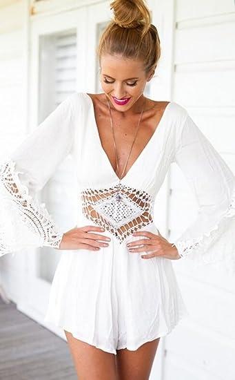 8c2267ca7d7 Amazon.com  JJ-GOGO Sexy V Crochet Romper Cut-out Playsuit  Clothing