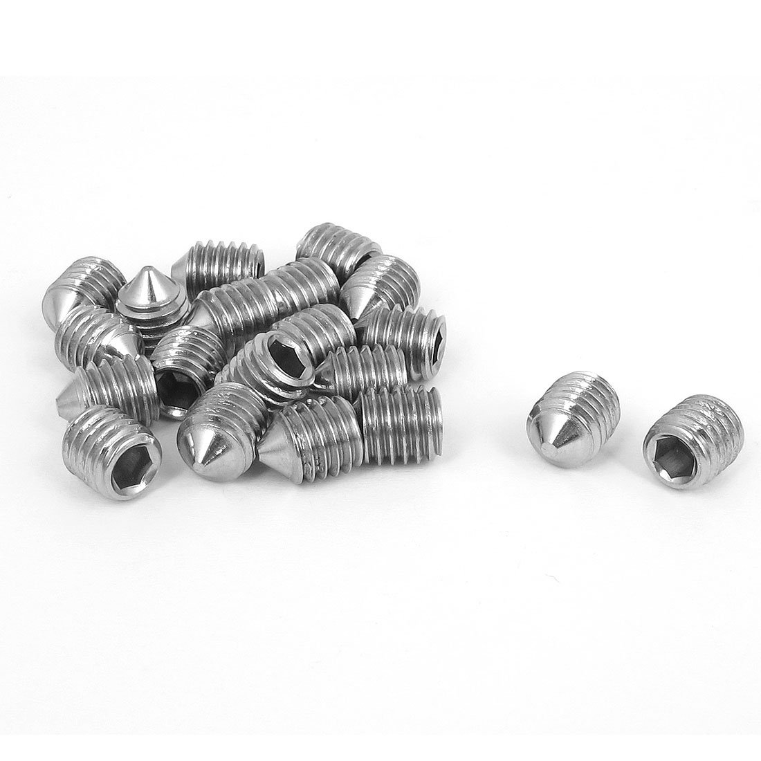 uxcell M8x10mm Stainless Steel Cone Point Hexagon Socket Grub Screws 20pcs a15091700ux0143