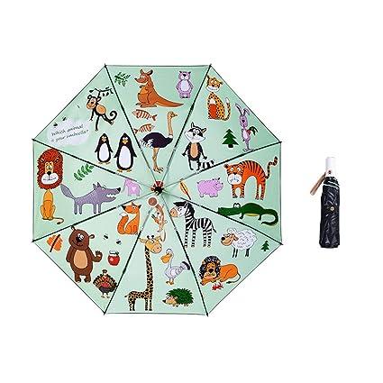 Paraguas plegable automatico Mujer niño Hombre an- Sombrilla automática Plegable de Tres Colores: protección