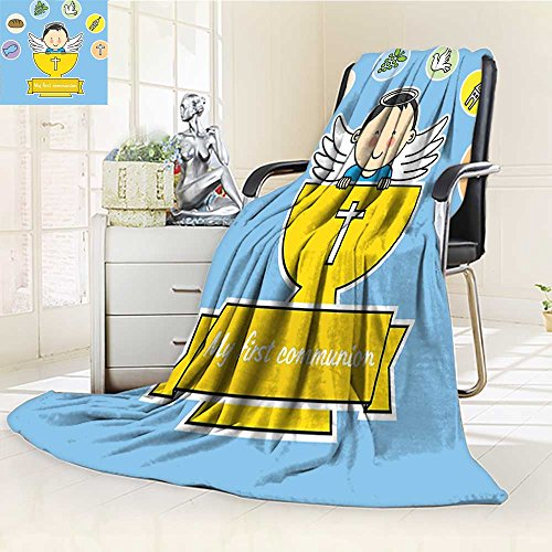 YOYI-HOME Weave Pattern Extra Long Duplex Printed Blanket My First Communion Sign Boy Baptism Grapes Cup Bread Candle Fish Wings Artwork Custom Design Cozy Flannel Blanket /W59 x H47 ()