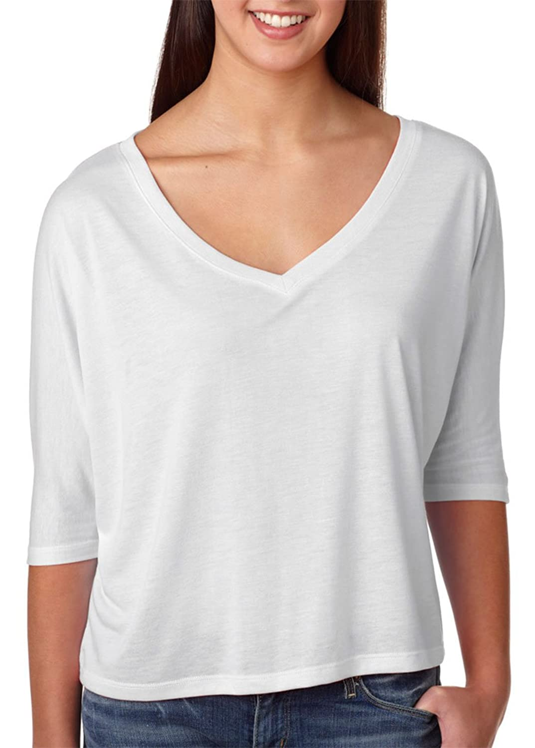 Bella 8825 Ladies Flowy V-Neck Cropped Half-Sleeve T-Shirt, White, Large