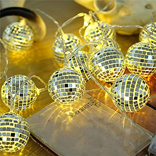AceList 20 LED Disco Ball LED Party Light String Decorative Lanterns for Holiday Wall Window Tree Decorative Party Yard Garden Kids Bedroom Living Dorm -