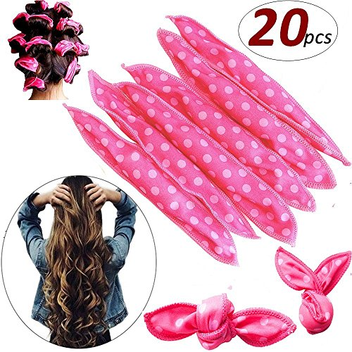 (20Pcs Magic Pillow Cloth Hair Roller for Long Medium Hair, Flexible Foam Sponge No Heat Nighttime Hair Curlers DIY No Harm Night Hair Rollers Styling Tool For Women-Pink)