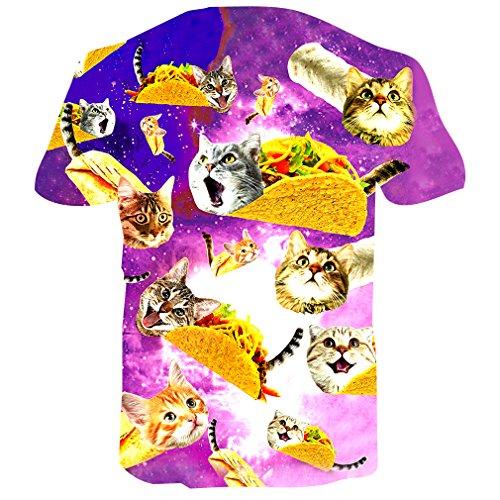 RAISEVERN T Shirts Herren Planet Cat Top 3D Druck Short-Sleeved Shirt Coole T-Shirts für Männer L