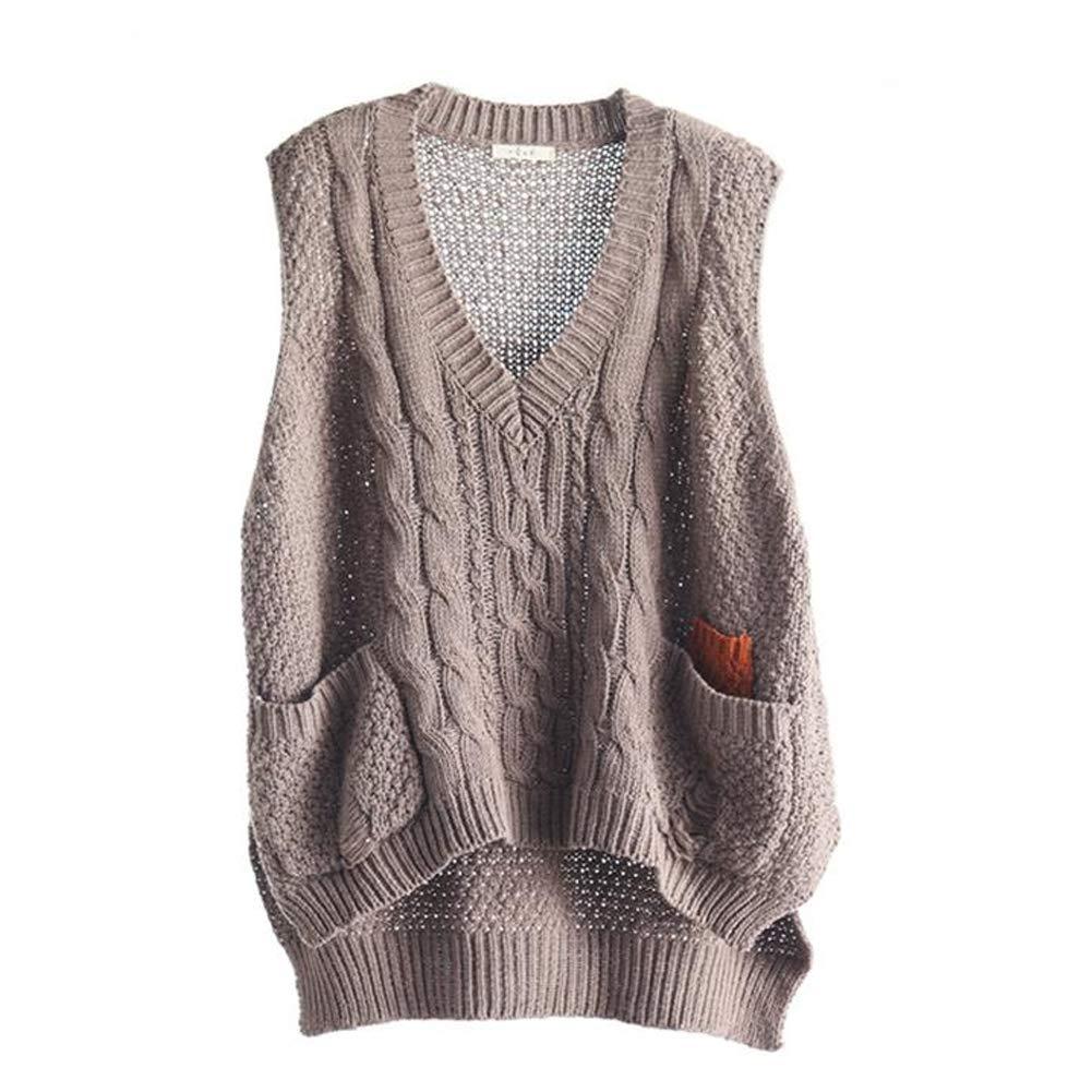 BUYKUD Women Khaki V-Neck Pullover Waistcoat Knitted Sleeveless Sweater