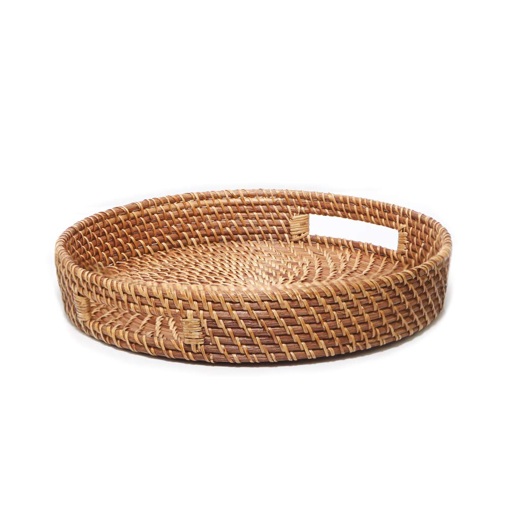 Rattan Round Bread Serving Basket Vintage Style Handcrafted High-Walled Serving Tray Platter with Cut-Out Handles,Storage Organizer Basket,15 inch