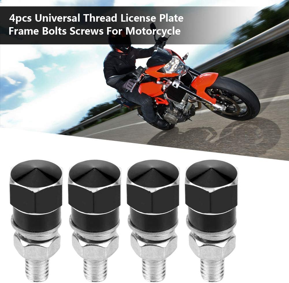 High Hardness License Plate Frame Bolts Screws with Precise Threads Multi-color Selectable black Qii lu 4pcs Universal Motorcycle License Plate Frame Bolts