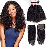 Wigirl Hair Unprocessed Brazilian Curly Virgin Human Hair Weave 3 Bundles with Free Part Lace Closure Natural Color(20 22 24 with 18 Free Part)