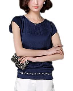 SDHEIJKY Plus Size Office Women Elegant Ladies Chiffon Blouse Short Sleeve Tops