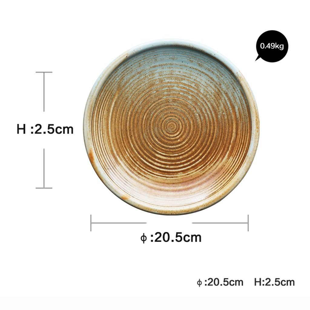 He Xiang Ya Shop Ceramic soup plate deep dish retro round fruit salad plate Flat dish steak plate 20.5 cm (8 inches) by He Xiang Ya Shop (Image #7)