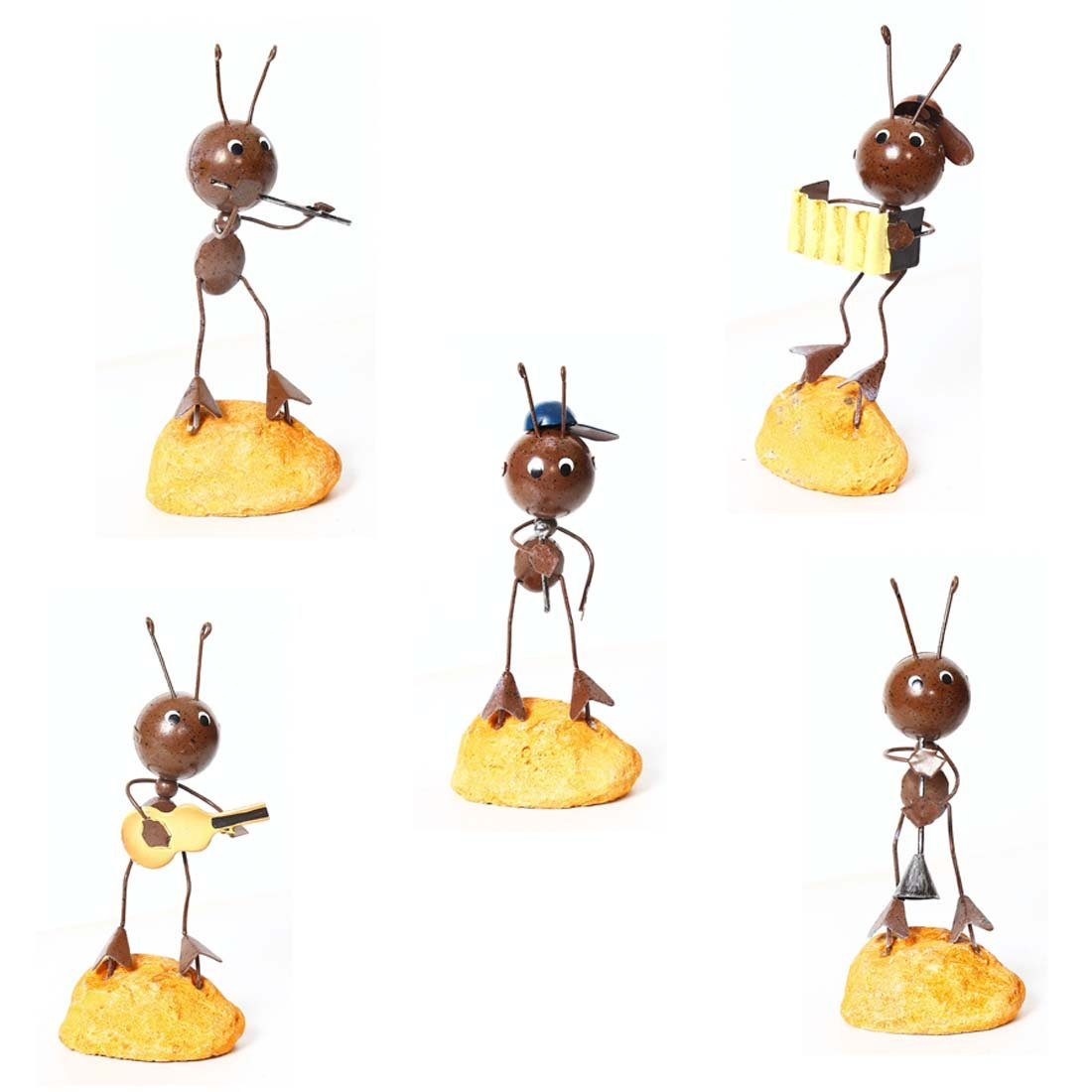 Penfly Ant Band Figurine Decoration Ornament Art and Craft for Home Living Room Bedroom Office Hotel Bar Cafeteria Coffe House Gift Pack of 5
