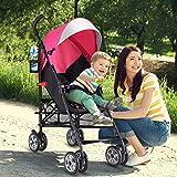 Costzon Lightweight Stroller, Baby Umbrella Convenience Stroller, Travel Foldable Design with Sun Canopy/ 5-Point Harness/Storage Basket (Pink)