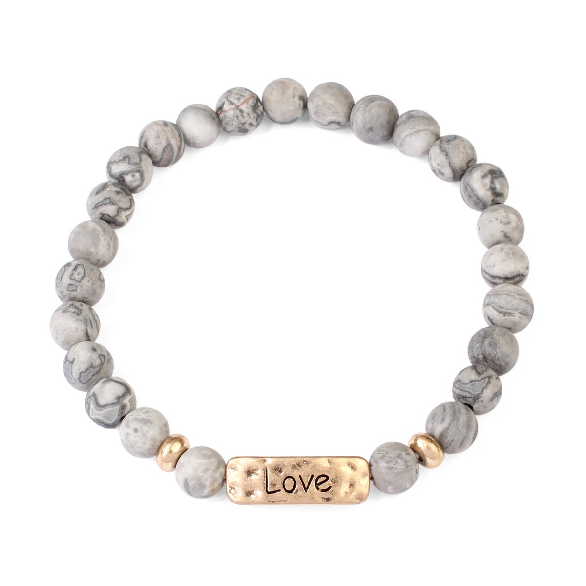 MYS Collection Blessed, Faith, Love and Hope Natural Stone Stretch Bracelet - Religious Engraved Message Bracelets 83382LCTG