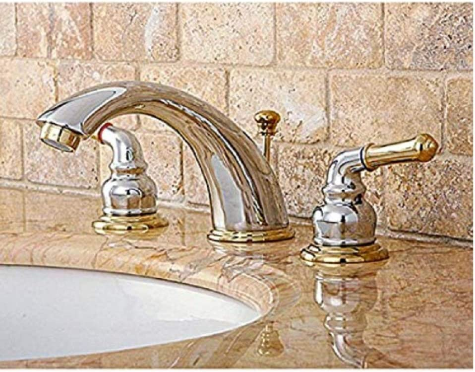 Chrome/Polished Brass Widespread Bathroom Faucet     Amazon.com