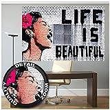 Poster - Banksy Graffiti Artist - Mural Decoration Life is Beautiful Pop Art Street Style Street Art Stencil Street Artists Wallposter Photoposter Wall Decor (55 x 39.4 Inch/ 140 x 100 cm)