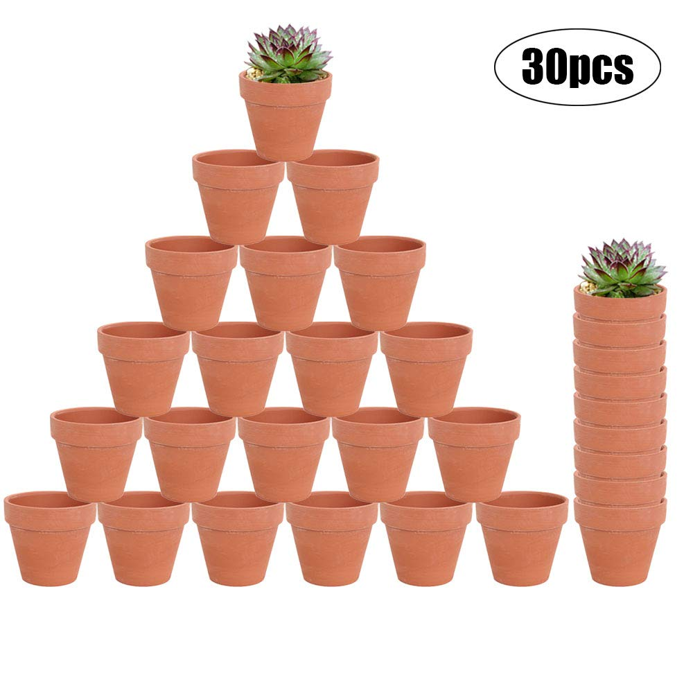 30-Count Mini 2-Inch Terra Cotta Flower Pots – Ceramic Pottery Clay Planters for Cacti and Succulent Plants, Wedding Bridal Party Favors