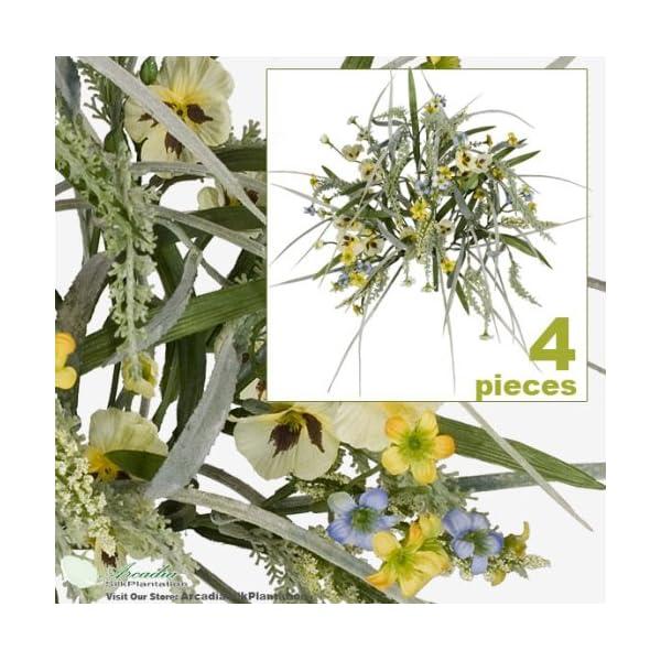 FOUR 17″ Pansy Astilbe Mixed Artificial Flower Grass Arrangement _Yellow Blue