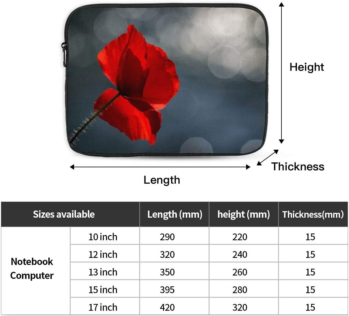 Poppy Laptop Sleeve Case Water Repellent Protective Bag with 10-17 Inch Computer 10 12 13 15 17 Inch