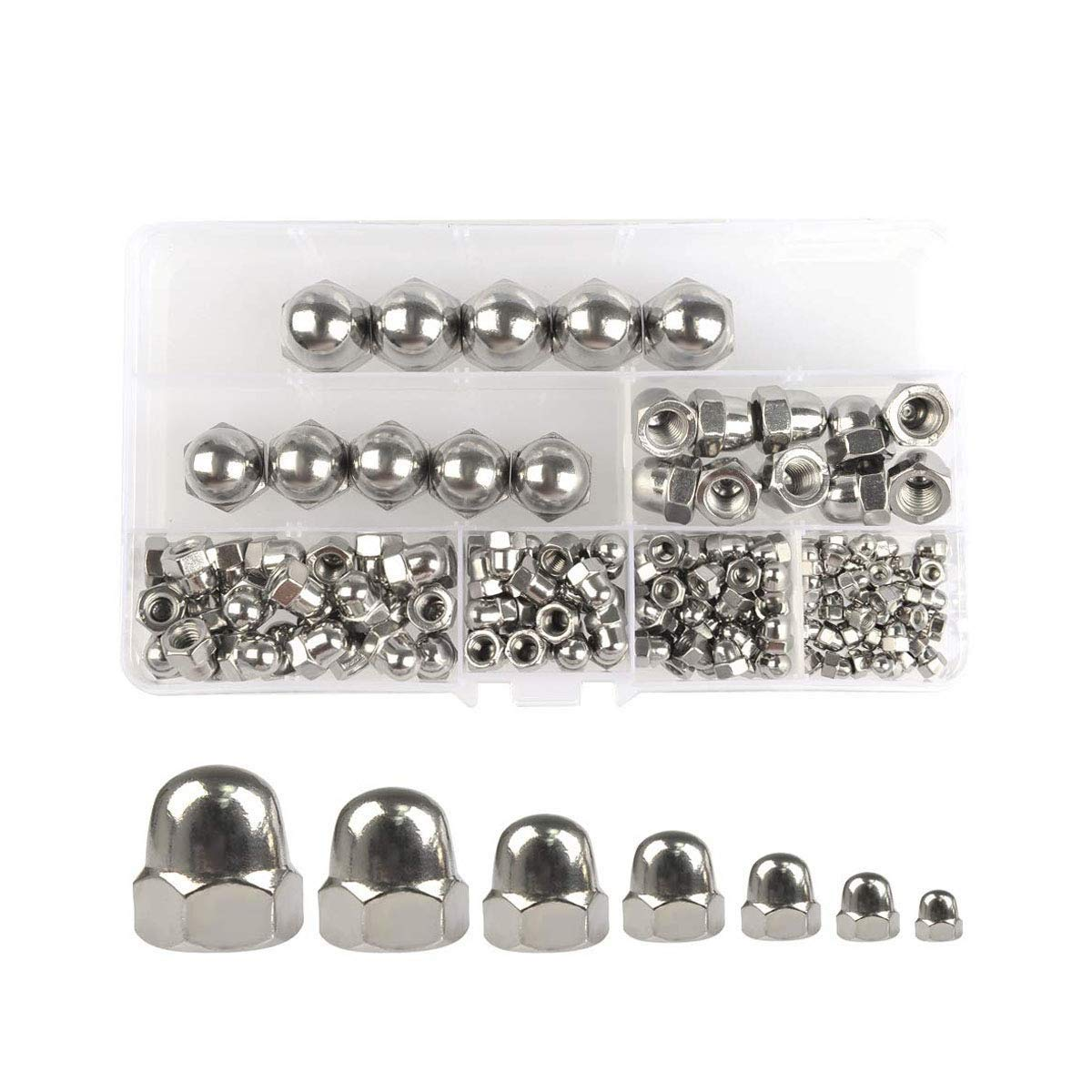 """Cy-Chrome MPB105 Alloy Steel High Crown Acorn Nuts Chrome Pack of 10 5//16/""""-18"""