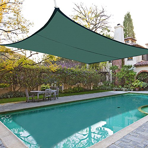 Shade&Beyond 8'x10' Rectangle Sun Shade Sail Canopy for Patio with D rings - 3rd Generation (Dark Green)