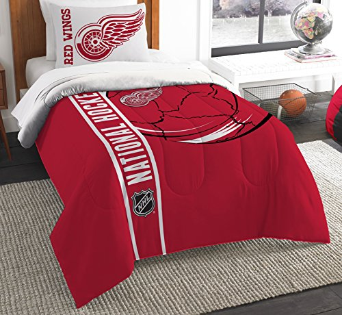 Officially Licensed NHL Detroit Red Wings Draft Twin Comforter and (Detroit Red Wings Sham)
