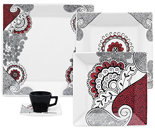 - Oxford Quartier Porcelain Boho Chic Collection Dinnerware Set, White