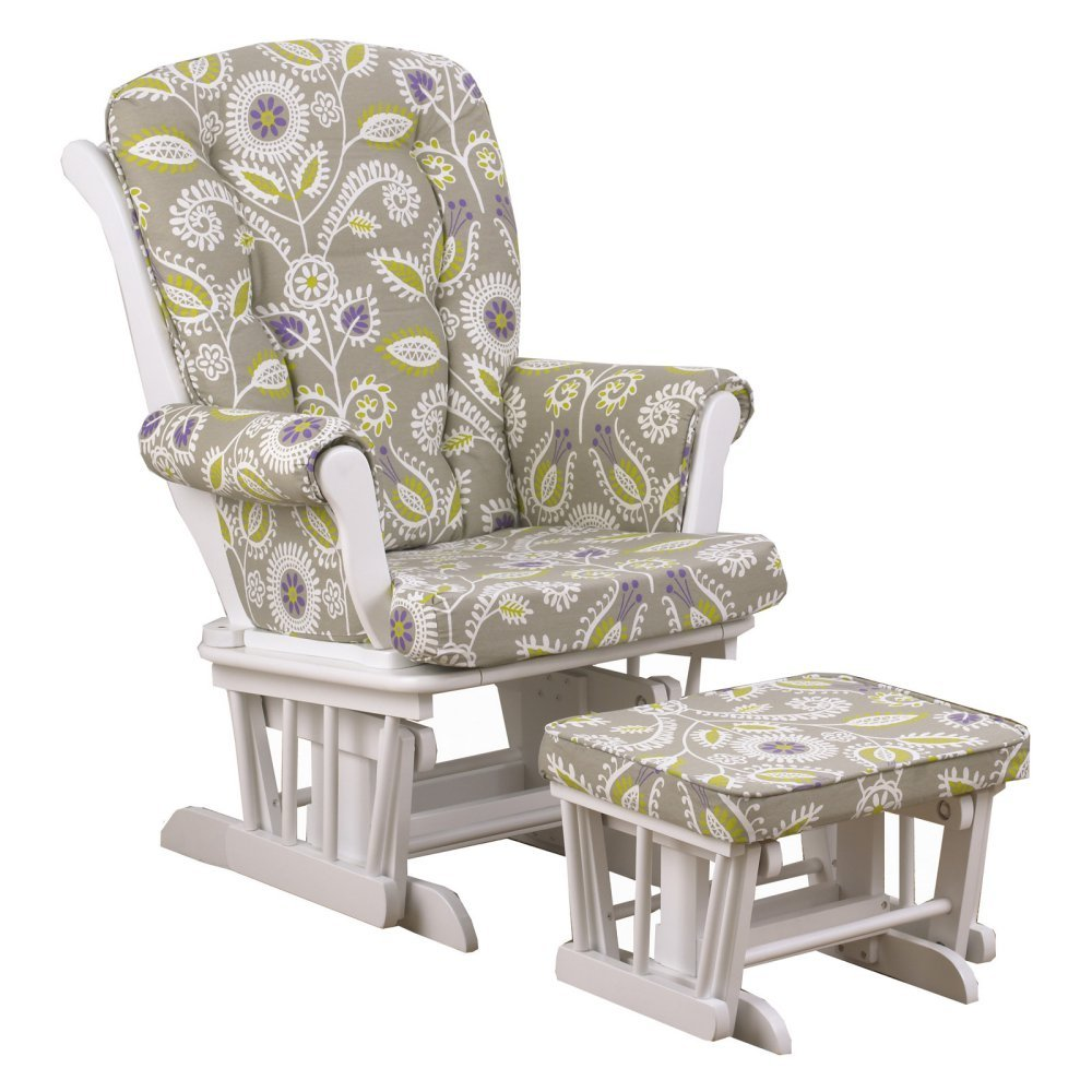 Cotton Tale Designs Periwinkle Floral Glider with Ottoman