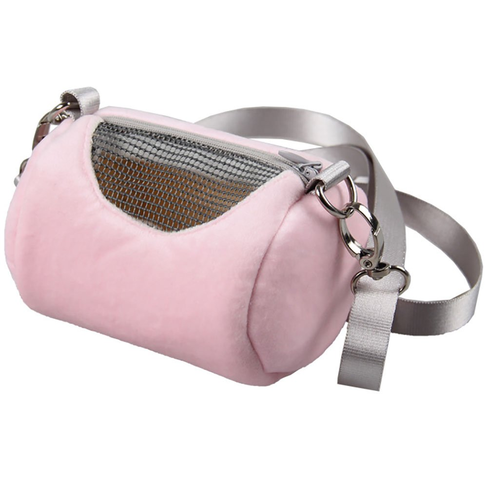 Zehui Portable Pet Hamster Cylinder Bag Carrier Comfortable Travel Bags Should Bag for Flying Squirrel Small Animals Gray