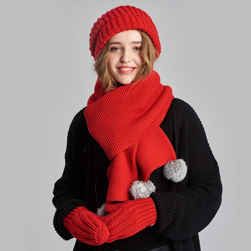 Bulawlly Tricoté Chaud Fille d'hiver épais Bonnet écharpe Gants Trois Ensembles, Chaud Set Set épais câble extérieur Chaud pour Les Hommes ou Les Femmes,Beige Red
