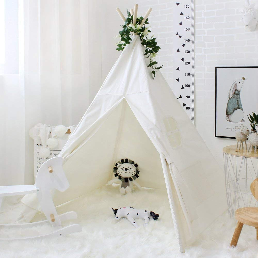 Love Tree Teepee Tent for Kids Indian Children Play Tent Cotton Canvas Portable Playhouse for Indoor Outdoor with Carry Bag