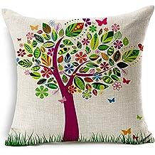 "Euro Throw Pillow Cover Girl Flowers Decorative Cotton Linen Home Office Sofa Throw Pillow Cover Cushion Case 18"" (05)"