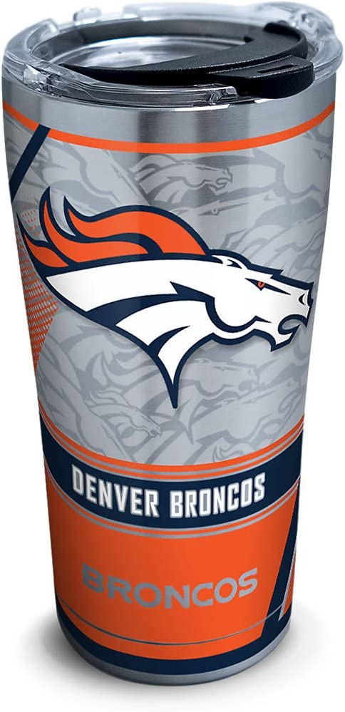 Tervis NFL Denver Broncos Edge Stainless Steel Tumbler with Clear and Black Hammer Lid 20oz, Silver