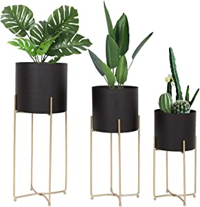 Mid Century Planter with Gold Plant Stand, 3 pcs Modern Planters for Indoor Plants, Metal Floor Planter Set with Foldable Stand(Pack of 3)
