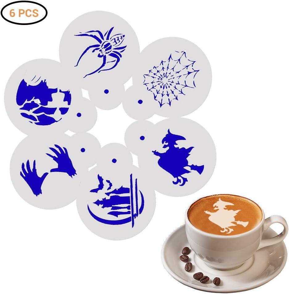 Amiispe Halloween coffee stencils 6 pieces decoration stencils barista stencils for latte cappuccino for adults children Christmas
