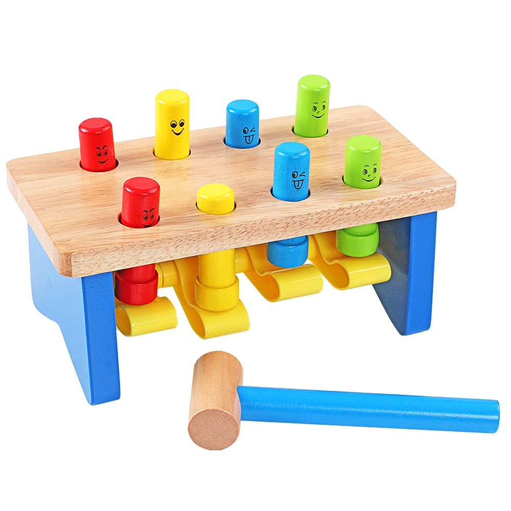 QZM Deluxe Pounding Bench Wooden Toy With Mallet Early Educational Games for Toddlers Kids and Ages 2 years and up